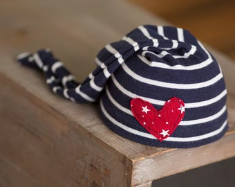 Newborn Hat, Nautical Newborn Hat, Newborn Knot Hat, Upcycled Newborn Hat, Newborn Photography Prop, Patriotic Newborn Hat, Newborn Props