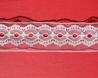 "Vintage Ivory Lace Trim, Natural White Geometric Craft Scrap Booking Trim, 2 1/2 yards x 1 5/8""W"