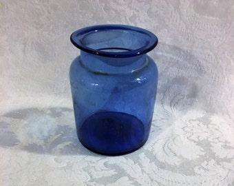 Cobalt Blue Canister, Jar, Pencil Holder, Hand Blown, German Canister