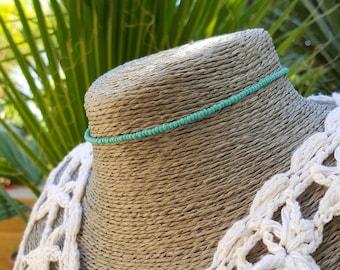 sea foam choker aqua green seed bead necklace beach surfing