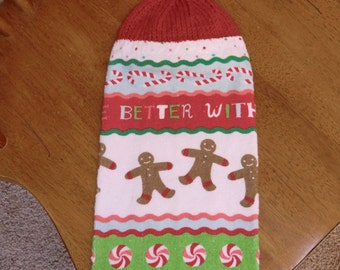 Christmas - Gingerbread Boys/Candy Canes Knit Top Kitchen Towels