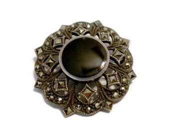 Vintage Black Onyx & Marcasite Sterling Brooch / Pin