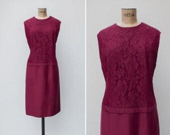 1960s Dress - Vintage 60s Burgundy Lace Wool Shift Dress - Vita Dress