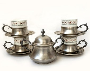 SALE Vintage Italian Serving Set of 4 cups,Espresso Coffee Serving Set , vintage retrò tableware.