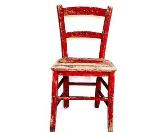 Antique sicilian wood children's chair, sicilian folk art red chair ,italian rustic style handmade painted flowers primitive chair
