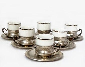 Vintage Coffee Serving Set,Espresso Serving Set,Pewter Coffee cups set,Made in Italy,vintage retrò tableware.
