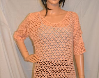 Warm Spring Night Hand Made Cotton, Crocheted Shirt - Sizes 0 to 20