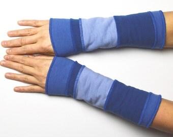 Mittens Arm Warmers Wrist Warmers double sided fleece cotton warm blue