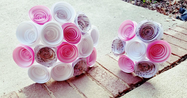 Handmade Paper Flower Bridal Bouquet And Matching Bridesmaid Bouquet