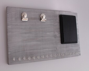 Horizontal Gray Running Board - Weathered Gray Horizontal Runner's Bib and Medal Holder - Runner's Gift - Cottage Chic - Chalkboard Sign