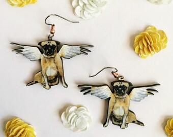 Angel Pug Earrings | Dog Jewelry | Stainless Steel (Nickle Free) Laser Cut Wood Dangle Earrings | Illustrated Retro Pugs