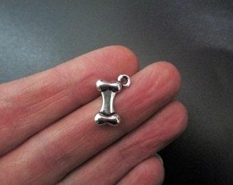 10 Tibetan Silver Dog Bone or skeletan Bone Charms 16 x 11mm