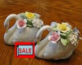 Sale, Clearance, 50% Off - Royal Doulton Floral Swan, Colorful Floral Arrangement, Porcelain Bird, Decorative Flower Bouquet Figure,