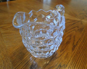 Retired Indiana Glass Whitehall Pattern Small Serving Pitcher, 3-D Box Pattern Syrup Dispenser, Cube Pattern Milk Jug