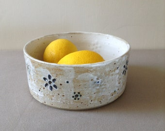 Modern Stoneware Fruit Bowl, White Glaze with Flower Impression, Hand Thrown Pottery