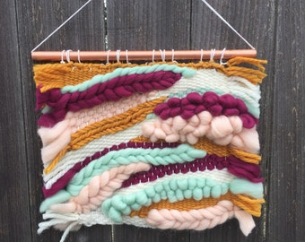 VIBRANT | Woven and Braided Roving Wall Hanging in Mustard, Wine, Peach and Mint