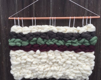 PATH | Large Roving Wool Wall Hanging in Ivy, Wine and Gray