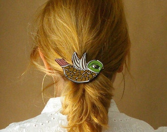 Bird Barrette. Hand Painted Wood Barrette - Bird Shaped Wooden Hair Clip - ready to ship - One of a kind - Lovely and Cute.