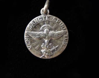 Antique Saint Esprit Dove of Peace Holy Medal Necklace