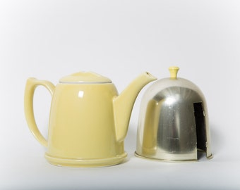 Yellow Hall Teapot With Insulated Metal Cozy 1950s Deco China Tea Service