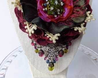 Burgandy/Dark Green Boho brooch, corsage for Coat, Jacket, Hat or Scarf