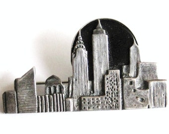 MODERNIST Vintage Sterling Silver Onyx NYC SKYLINE Artisan Crafted Brooch Pin New York City Hipster Urban Designer Fashion Jewelry