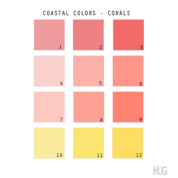 Shades Of Coral Color Chart Imagessure