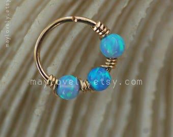 Helix Earring - opal cartilage hoop -blue Opal hoop- opal nose Ring - Gold opal hoop- opal helix earring - Cartilage Hoop helix piercing