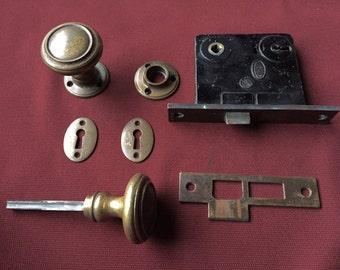 Antique Cast Brass Door Hardware set by Corbin, Circa 1928