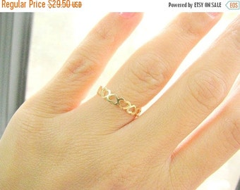 New Year Sale - Heart band - Gold heart ring- Hearts band ring - Gold filled ring - Tiny heart ring - Dainty heart band, (5.5)