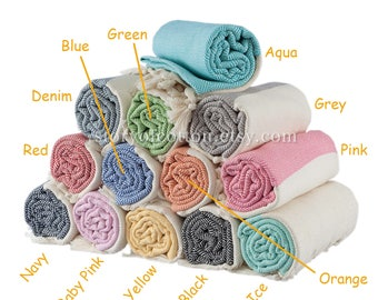 Set Of 2 Diamond Peshtemal Beach Towel Pestemal Hamam Turkish Towel