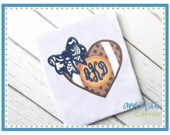 Football Heart Monogram Custom Tee Shirt - Customizable 28