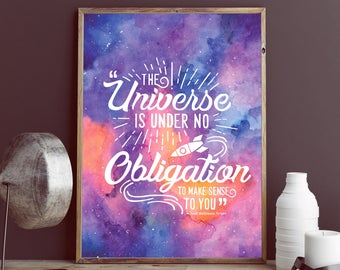 Galaxy Watercolor with Neil DeGrasse Tyson Quote