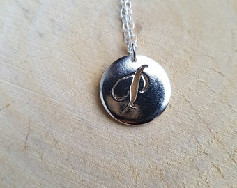 P Initial Silver Necklace Pendant Monogram Personalised Jewellery Handmade Letter P