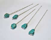 RESERVED LISTING 7 Shawl Pins, Turquoise, Semi Precious Stones, Wand Style, Silver Plated Wire