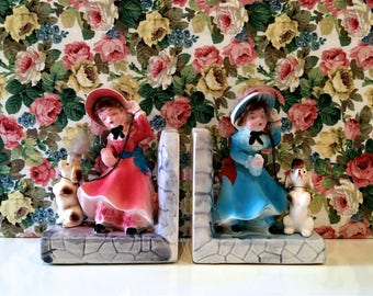 Vintage Kitsch Lady and her Dog Bookends