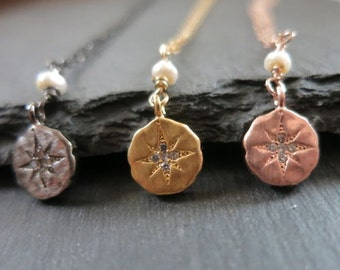 Tiny cz diamond disc necklace, tiny north star pendant,rose gold,yellow gold, oxidized sterling,artisan charms, gift under 50, holiday gifts