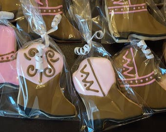Cowgirl Boots Decorated Cookies, Bridal Shower, Birthday, Party - 1 Dozen