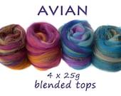 AVIAN- blended tops-merino- mulberry silk-sparkle-blue-purple-4x25g