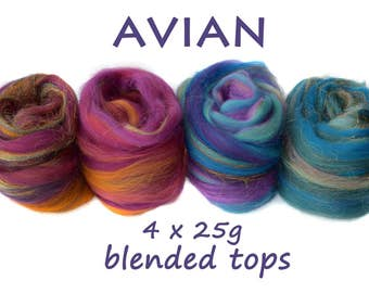 AVIAN- blended tops-merino- mulberry silk-sparkle-blue-purple-4x25g