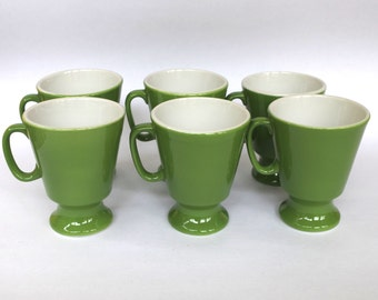 Vintage 1960s or 1970s Green Shenango China Restaurant Ware Pedestal Mugs Heavy Duty