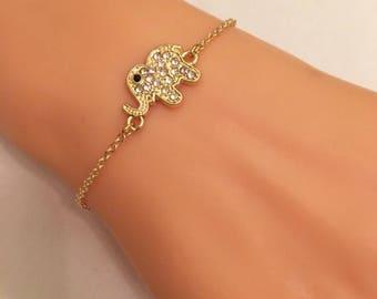 Gold Plated Elephant Bracelet, Tiny Gold Rhinestone Elephant Charm, Kids Jewelry, Toddler Jewelry, Elephant Charm, Rhinestone Charm Bracelet