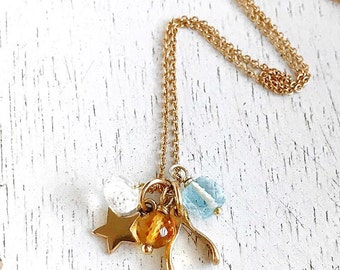 14k Gold Fill Wishbone and Star Charms Faceted Citrine Swiss Blue Topaz 14k Gold Fill Wire