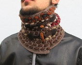 Men's cowl Neckwarmer Crochet Neckwarmer Crochet Cowl  Crochet Chunky Crochet Knit Neckwarmer scarf with toggles