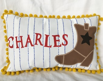 Pillow with cowboy boot, personalized name.