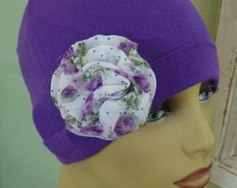 Purple Knit Chemo Hat with Lavendar and White Large print Flower