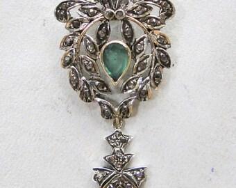 Victorian Diamond Natural Emerald Gold Silver Pendant India