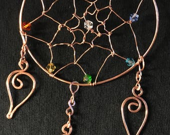 "Copper Dreamcatcher Pendant or decoration adorned with Swarovski Crystals.  Pendant is 4 1/2""   All hand shaped and hammered"