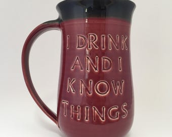 GIANT I Drink and I Know Things Beer and Coffee Mug Targaryen Black Red
