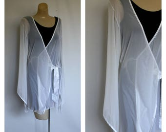Vintage Sheer White Wrap Robe / 1980s Wrap Cover Up /  Fredricks of Hollywood Robe / Sexy Sheer White Short Robe S/M